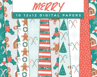 Merry Collection Digital Papers // Gingerbread Snowglobe Holiday Tree Stickers Paper Pack Seamless Pattern Graphic Illustration Clipart