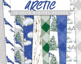 Arctic Collection Digital Papers // Blue Jay Fox Snow Winter Pine Birch Stickers Seamless Paper Pack Pattern Graphic Illustration Clipart