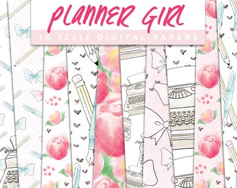 Planner Girl Collection Digital Papers // Typewriter Girly Agenda Stationery Floral Stickers Paper Pack Pattern Graphic Illustration Clipart