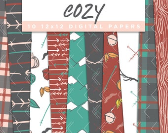 Cozy Collection Digital Papers // Plaid Rustic Cabin Stickers Paper Pack Seamless Pattern Graphic Illustration Clipart