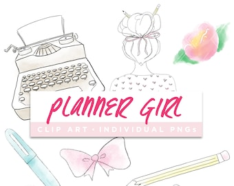 Planner Girl Collection Clip Art // Typewriter Girly Agenda Floral Planner Stickers Clipart Digital Graphic Illustration Scrapbooking