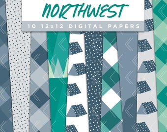 Northwest Collection Digital Papers // Pacific Northwest Outdoor Stickers Paper Pack Pattern Graphic Illustration Clipart