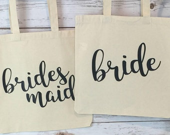 Bridesmaid Canvas Tote Bags / Bridal Party Gifts / Bridesmaid / Maid of Honor / Bride / Canvas Tote Bags / Bridesmaid Gifts