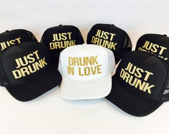 ca483b6b Bridesmaid Hat, Bachelorette Hats, Drunk in Love, Just Drunk, Trucker Hat, Bridal  Party Hat, Bride Hat, Bachelorette Party