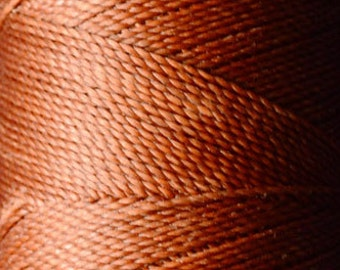 Rust red orange. Waxed polyester thread spool. Linhasita. Art supply. 172 m / 188 yds, 1 mm thick (25)