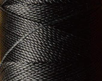 Very dark gray. Waxed polyester thread spool. Linhasita. Art supply. 172 m / 188 yds, 1 mm thick (691, 220)