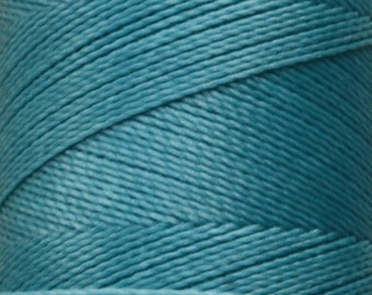 229 _ 0.5 mm tourquoise. Waxed polyester thread spool for micro macrame. Linhasita. Art supply. 337 m /368 yds, 0.5 mm