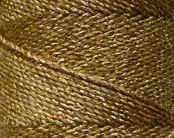 GOLD LINHASITA: OURO Golden macrame cord bobbin. Waxed polyester whole thread reel, metallic polyester waxed cord