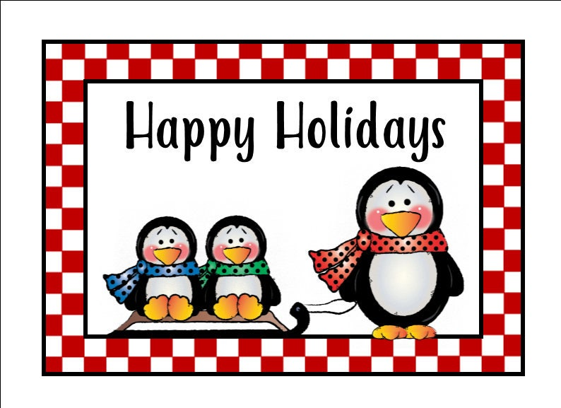 image about Happy Holidays Printable Card called Printable Card - Penguin Sled Joyful Vacations Card - Xmas Card - Immediate Down load