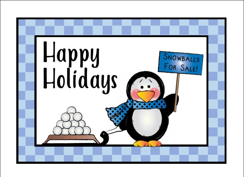 photo about Happy Holidays Printable Card called Printable Card - Penguin Satisfied Holiday seasons Card - Xmas Card - Fast Obtain