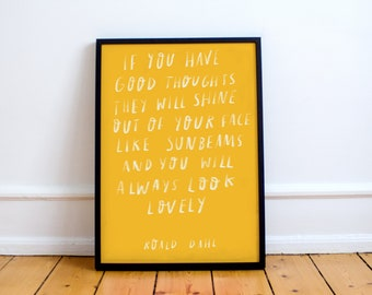 Roald Dahl inspired Quote Print!  Hand written type, poster, art, gift, The Twits
