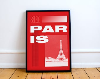 Paris Print! Eiffel Tower Graphic Art, Vacation, France, Europe, Tourism, Design, Type, French, Illustration, Photography