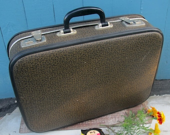 Retro  Brown Suitcase, Soviet Old Travel Luggage, Vintage Home Decor