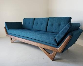 Mid Century Solid WalnutTrim Gondola Sofa  Adrian Pearsall Style