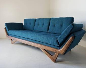 Ordinaire Mid Century Solid WalnutTrim Gondola Sofa  Adrian Pearsall Style