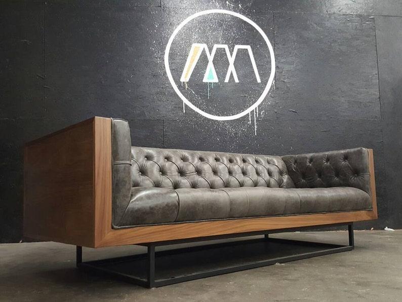 Mid Century Modern Tufted Milo Baughman Style Walnut Encased sofa with metal platform