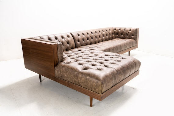 Miraculous Walnut Encased Tufted Sofa Chaise Milo Baughman Inspired Ocoug Best Dining Table And Chair Ideas Images Ocougorg