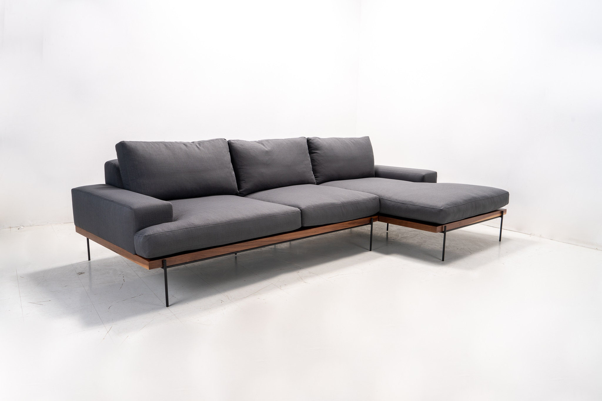 Modern Industrial feather filled Sofa chaise with Rod Iron base