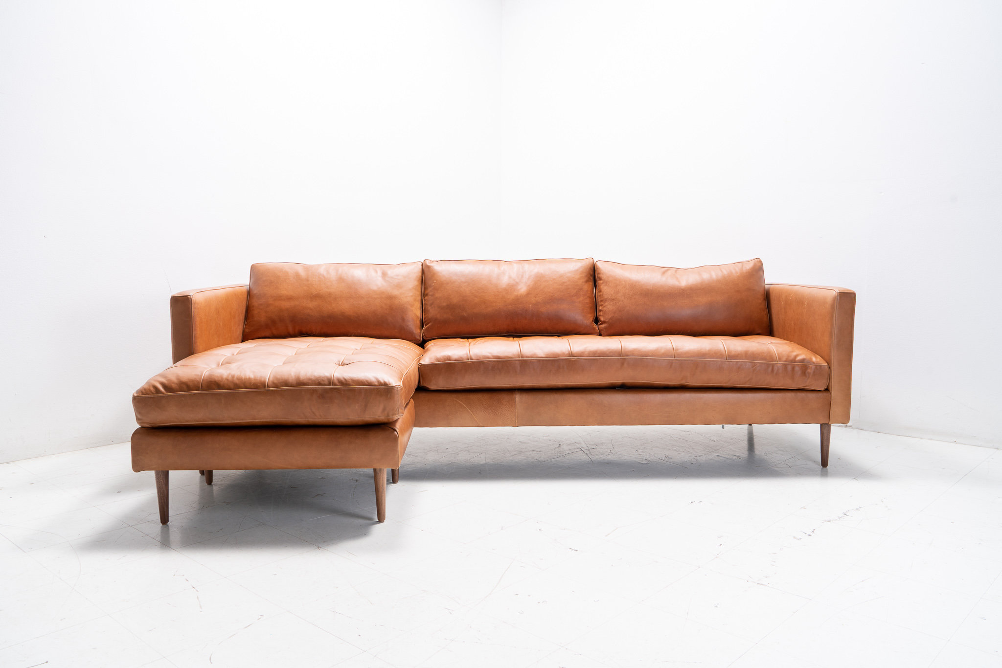 Mid Century Modern Danish Sofa Sectional Chaise Reversible To Both Sides