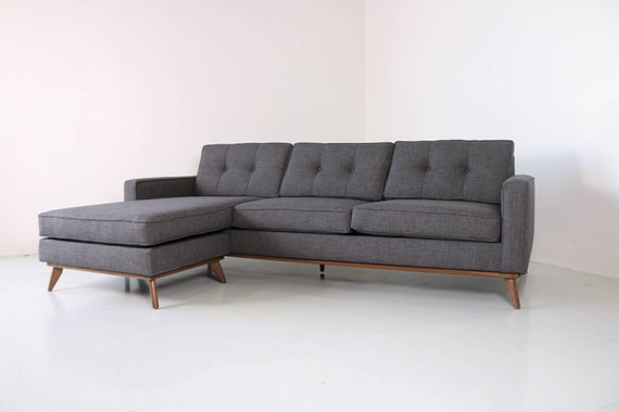 Mid Century Modern Danish Sofa Sectional Chaise Reversible To Etsy