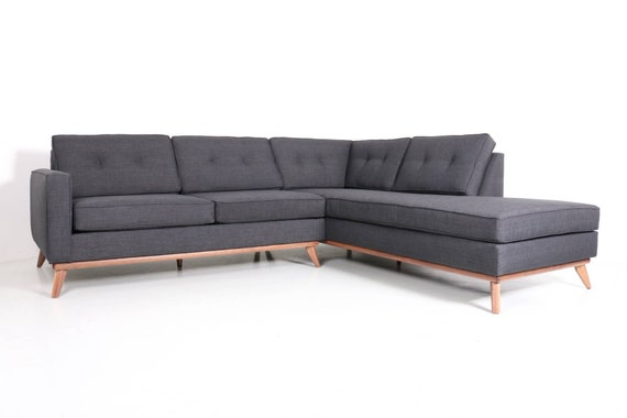 Mid Century Danish Modern Sectional Chaise Sofa