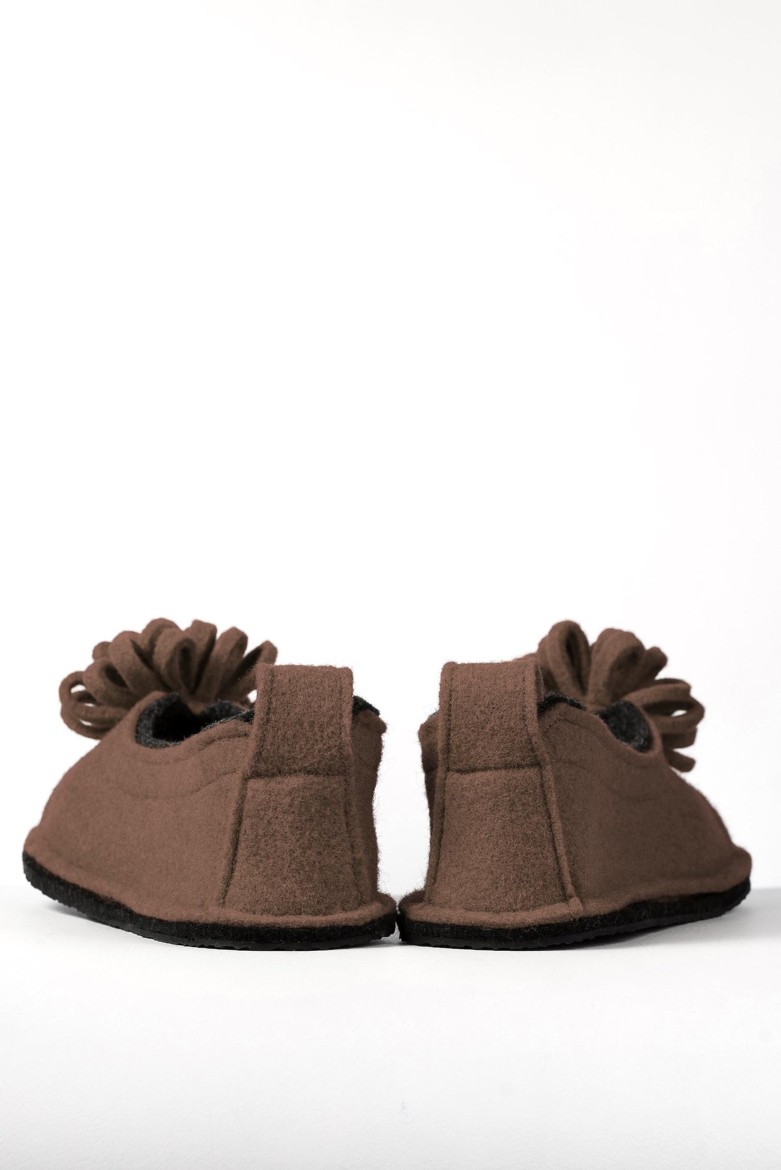 wool felt warm ballet flat slippers flower