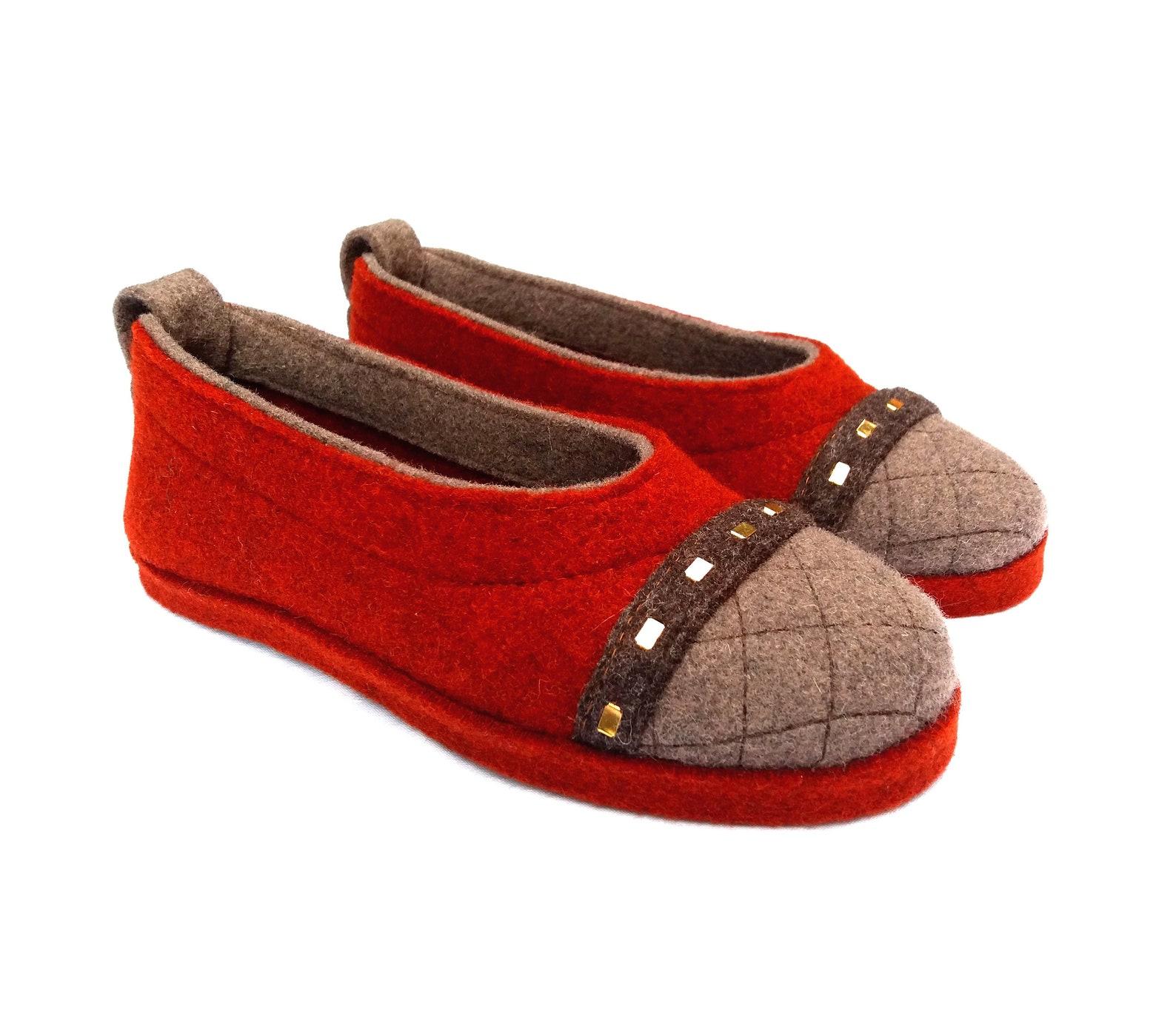 wool felt warm ballet flat slippers affori