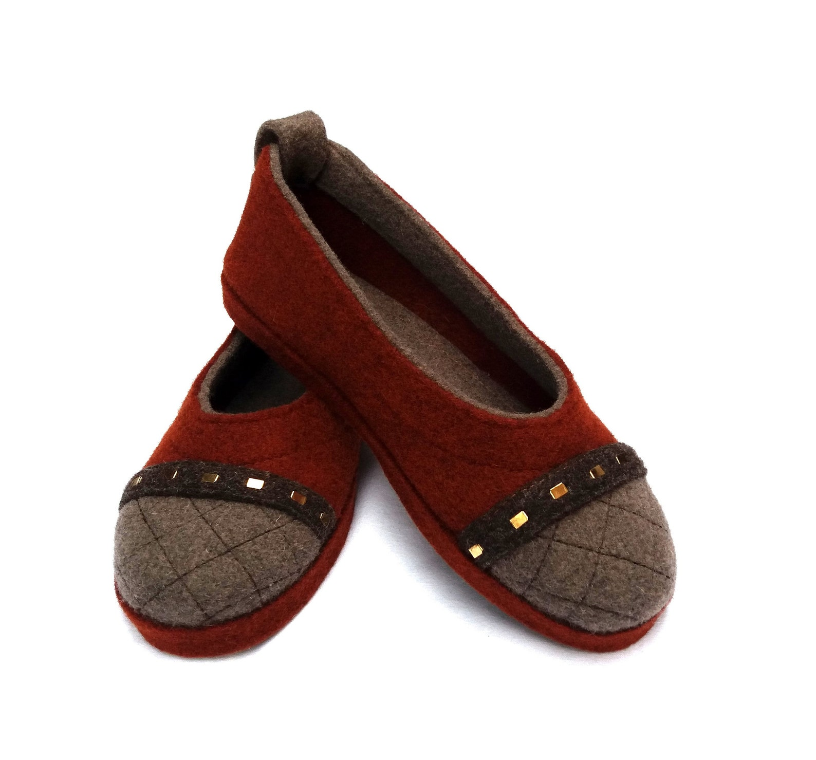 wool felt warm ballet flat slippers affori