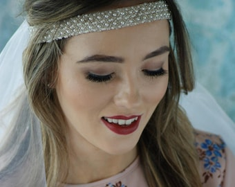 Hens Party Veil - Clustered Pearl look headband with veil