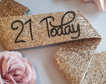 21st Birthday Sash 21 and Legal Rose Gold Glitter Sash | Etsy