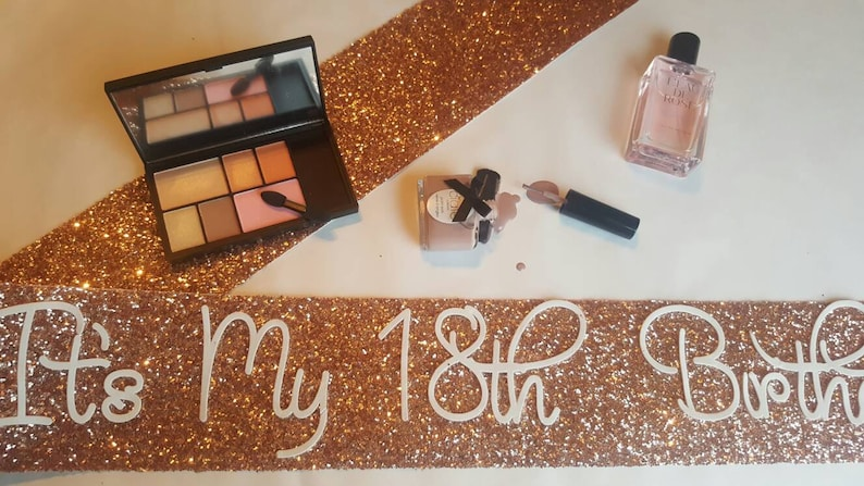 18th Birthday sash - 18 today - birthday sash - birthday banner ROSE GOLD  Birthday Sash - Glitter - Any Age - handmade sparkle