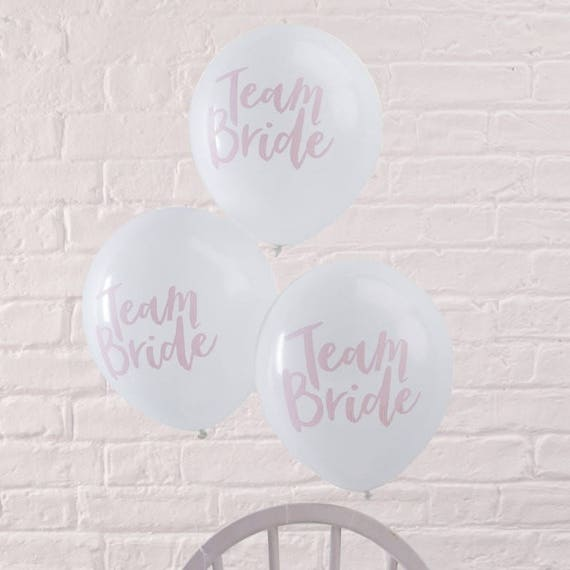 Team Bride Pink and White Balloons