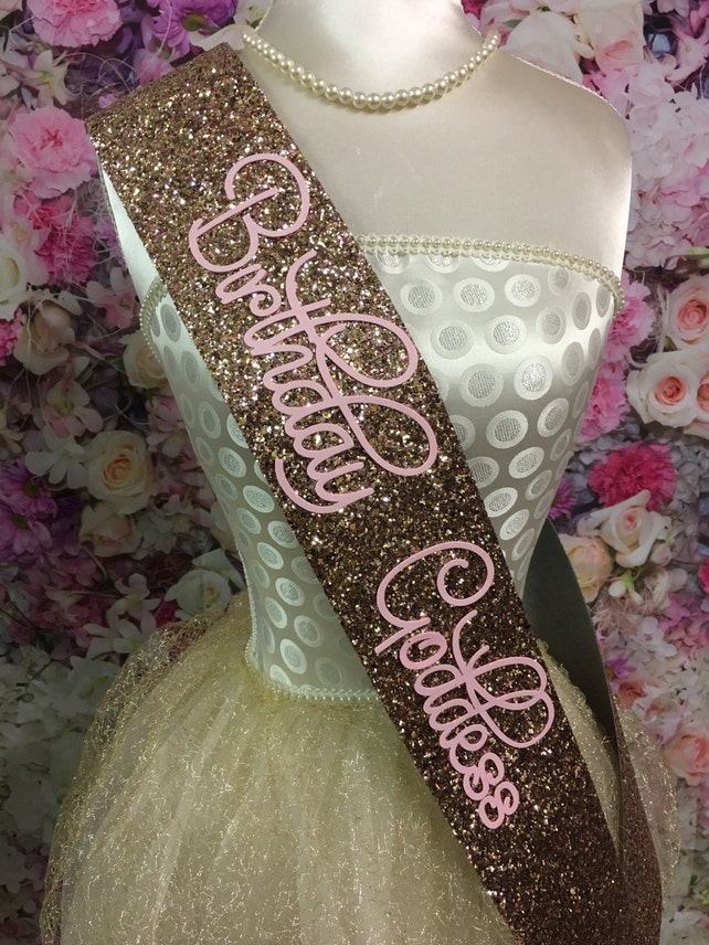 Birthday Sash ROSE GOLD Glitter - Birthday Goddess handmade
