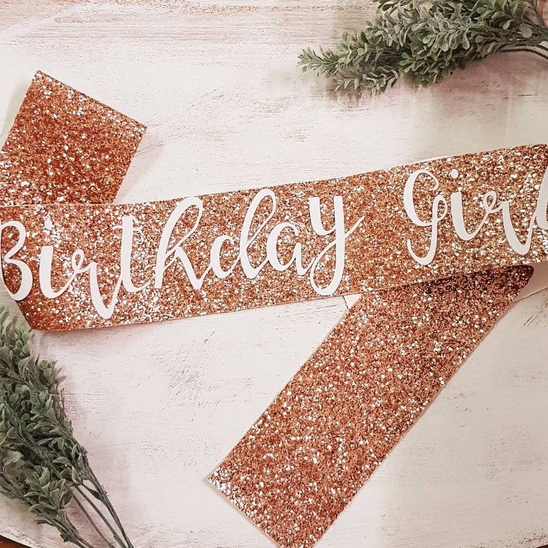 Adult Birthday Sash - ROSE GOLD Glitter - Carly font