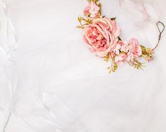Wedding Veil -  Floral Crown - Hen / Bachelorette - decoration / quirky accessories bride to be
