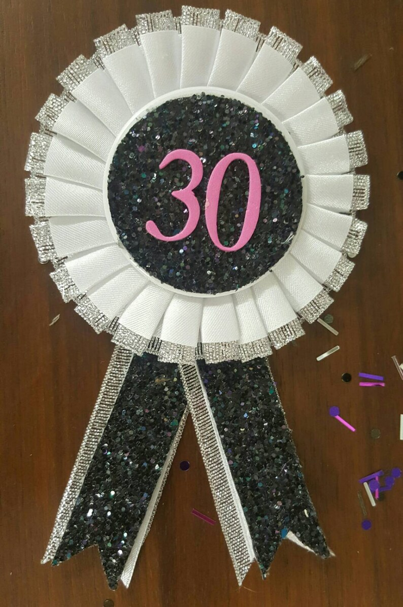 Hot Pink 30th Birthday Rosette