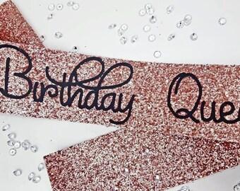 Birthday Sash ROSE GOLD Glitter - Birthday Goddess handmade sparkle birthday party decoration / accessories 16th 21st 30th