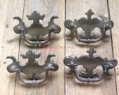 Solid Brass Drop Handle Drawer Pull Restoration Hardware Art Nouveau Original Patina