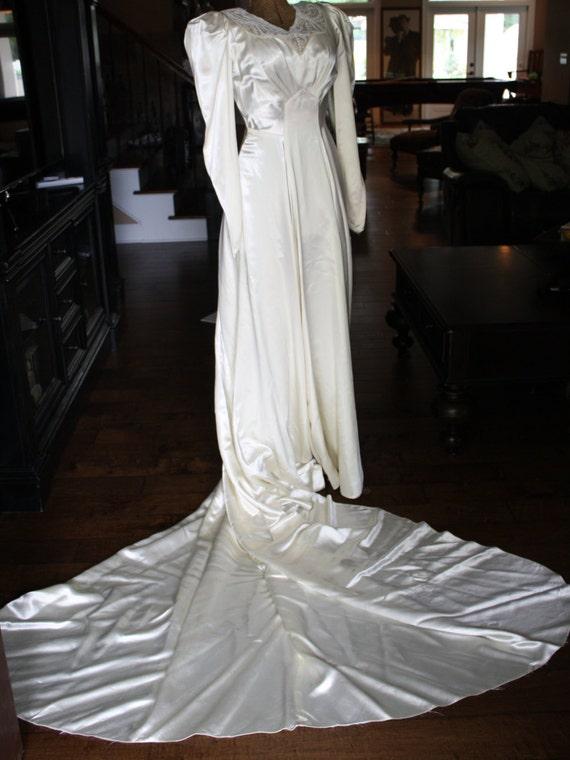 1930s Wedding Dress Gatsby Liquid Satin Beaded Art