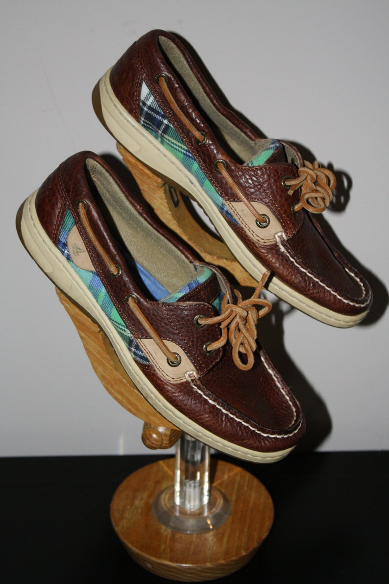 bad23f0a744b4 Vintage 80s Sperry Topsider Boat Oxord Plaid Brown Women's 7 Preppy Resort