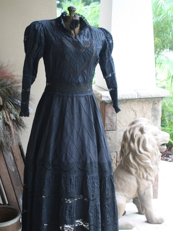 Rare Antique Victorian Mourning Dress Black Lace G