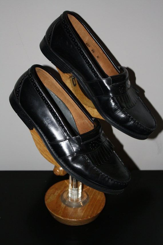 Vintage Leopard Loafer Talbots Italy Black 7 Preppy Hipster Rockabilly