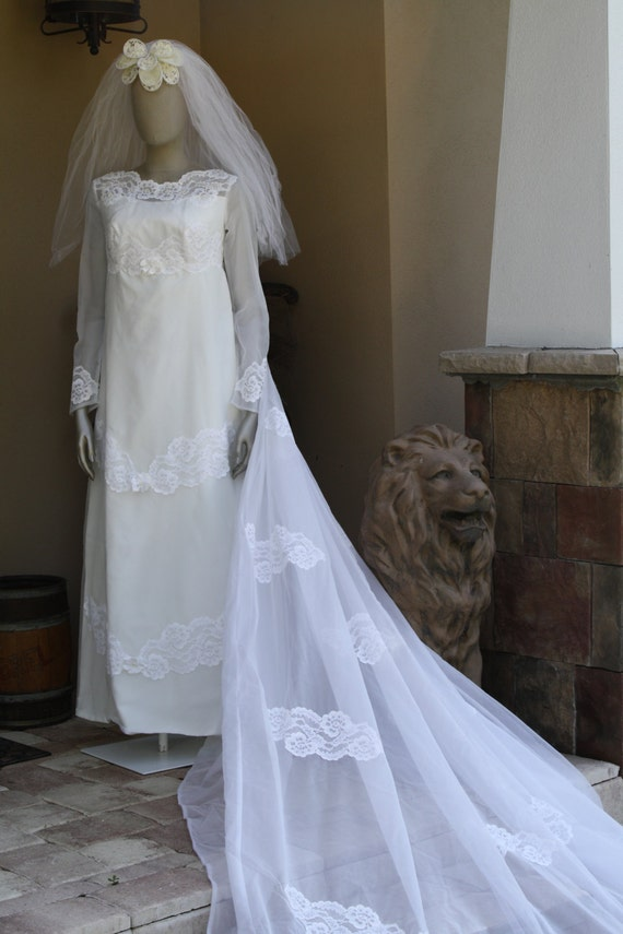 Mod 1960s Wedding Dress and Veil Vintage Mad Men M