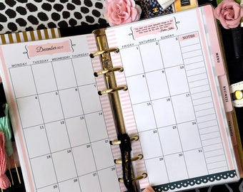 Printed Planner Inserts - Monthly Inserts - Filofax Personal - Kikki K Medium - LV MM -  Design: Mademoiselle