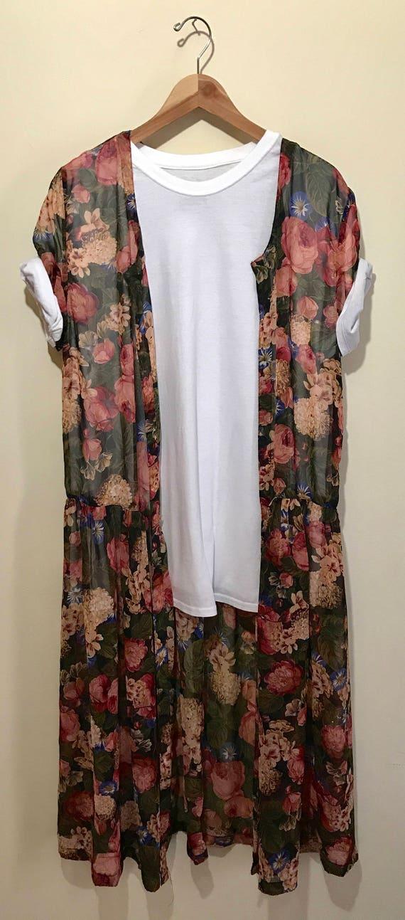 Boutique Kimono Floral Paisley Long Duster Tunic Top Womens Plus Size 0X-1X