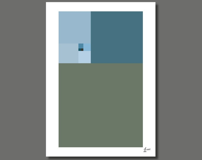 Fibonacci Winter [mathematical abstract art print, unframed] A4/A3 sizes