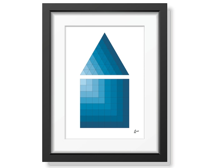 Triangle and square 09 [mathematical abstract art print, unframed] A4/A3 sizes