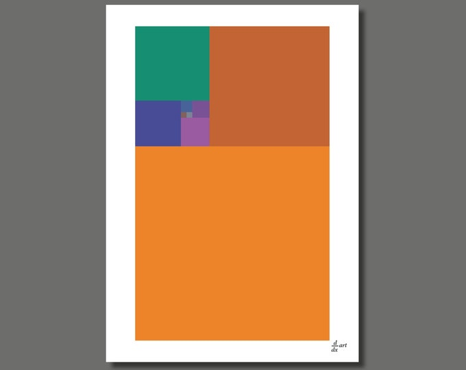 Fibonacci Old School [mathematical abstract art print, unframed] A4/A3 sizes