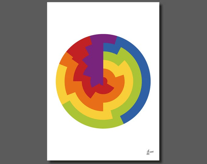 Circles divided [mathematical abstract art print, unframed] A4/A3 sizes