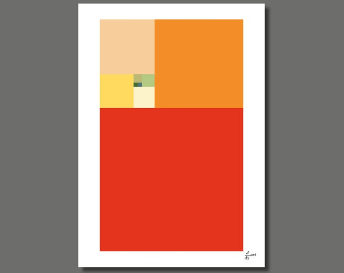 Fibonacci Summer [mathematical abstract art print, unframed] A4/A3 sizes